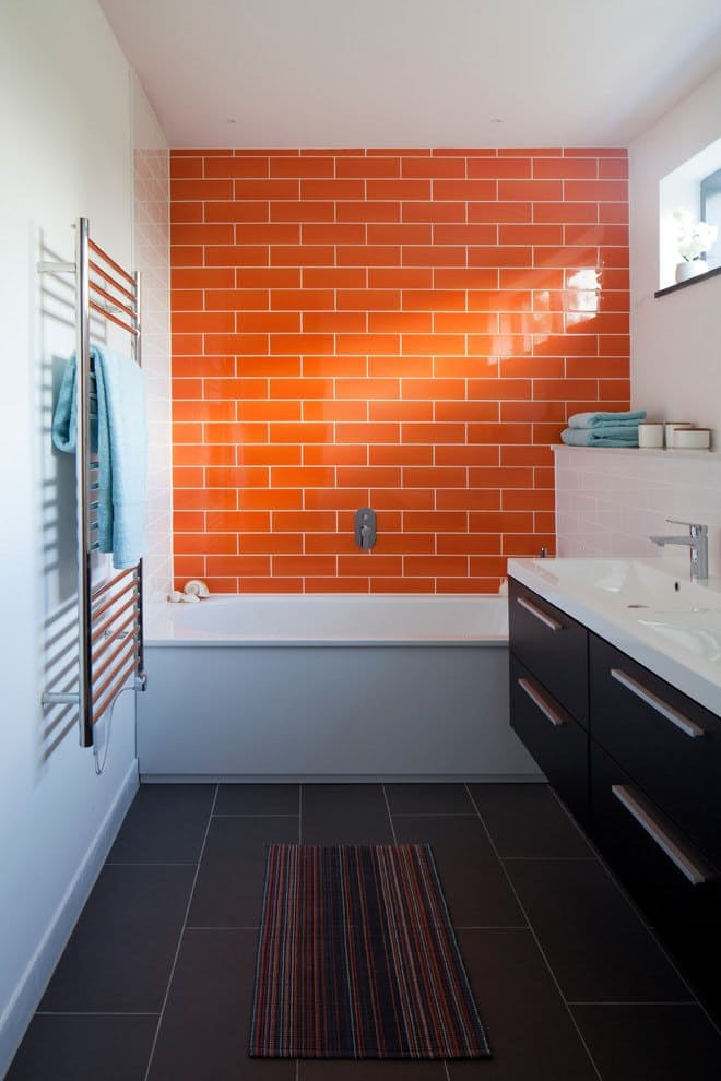 Bold Coloured Bathroom Wall