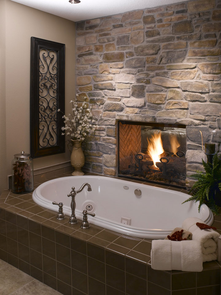 Bespoke Bathroom with fireplace