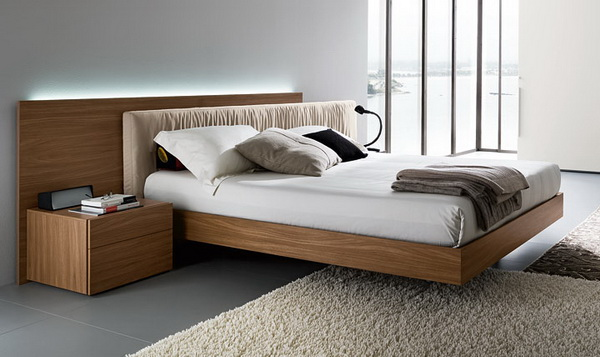 eclectic-bedroom-with-wooden-floating-bed-frame-with-white-mattress-with-sleek-rug-and-wooden-nightstand